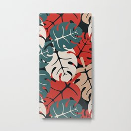 Animalier Monstera Leaves  Persian Red Metal Print