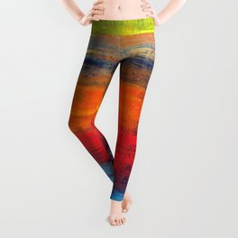 Horizon Blue Orange Red Abstract Art Leggings