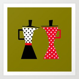 Ole coffee pot in olive green Art Print