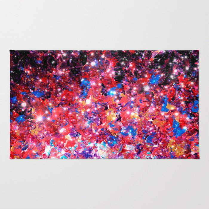 WRAPPED IN STARLIGHT Bold Colorful Abstract Acrylic Painting Galaxy Stars Pink Red Purple Ombre Sky Rug