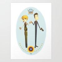 battlestar Art Prints featuring Battlestar couple by Annalisa Leoni