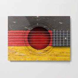 Old Vintage Acoustic Guitar with German Flag Metal Print