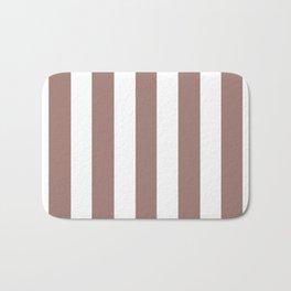 Burnished brown - solid color - white vertical lines pattern Bath Mat