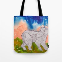 northern lights Tote Bags featuring Northern Lights by Dawn Patel Art