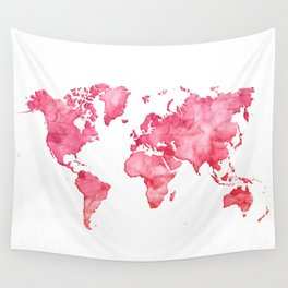 Raspberry watercolor world map Wall Tapestry