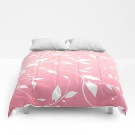 FLOWERY VINES | pink white Comforters