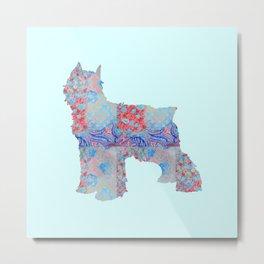 Bouvier Des Flandres Vintage Floral Pattern Blue Red Coral Pink Metal Print