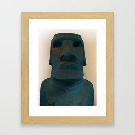 Easter Island Blue Man Statue Framed Art Print