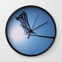 greece Wall Clocks featuring Greece. by Cassandra Evelyn