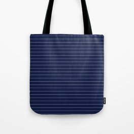 Navy Blue Pinstripe Lines Tote Bag