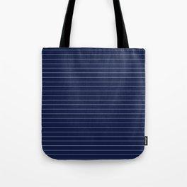 Navy Blue Pinstripe Lines Tote Bag