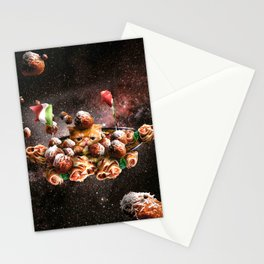 Funny Space Pasta Cat Stationery Cards
