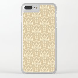 damask pattern color cream Clear iPhone Case