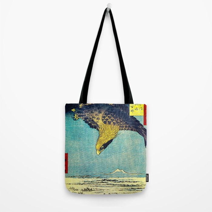 Hiroshige, Hawk Flight Over Field Tote Bag