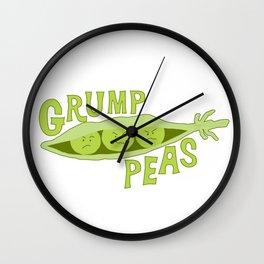 Grumpy Peas Vegetable Pun Wall Clock