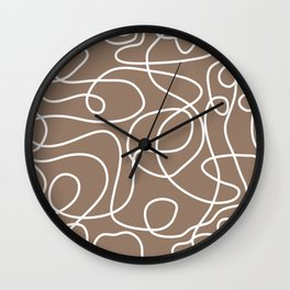 Doodle Line Art | White Lines on Malt Brown Wall Clock