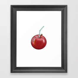 red Apple and a cocktail straw Framed Art Print