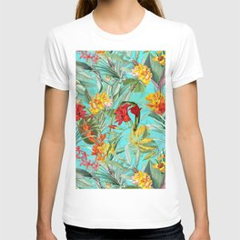 Vintage & Shabby Chic - Colorful Tropical Blue Garden T-shirt