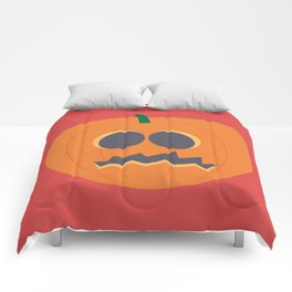 Halloween Pumpkinhead Spooky Poster In Cartoon Style With Red Background Comforters