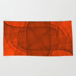 Fractal Eternal Rounded Cross in Red Beach Towel