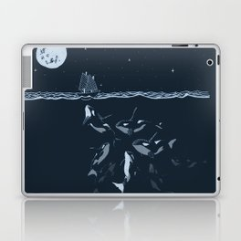 Pod of Killer Whale (Orca) and small boat in midnight ocean scene Laptop & iPad Skin