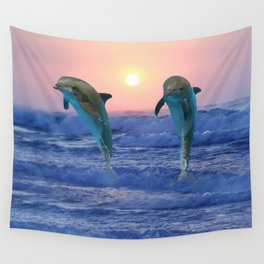 Dolphins at sunrise Wall Tapestry
