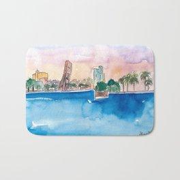 Fort Lauderdale Skyline Sunset In Florida Bath Mat
