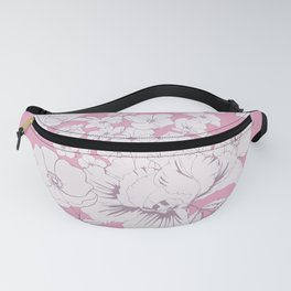 Rose hips, irises and phlox in pink background Fanny Pack