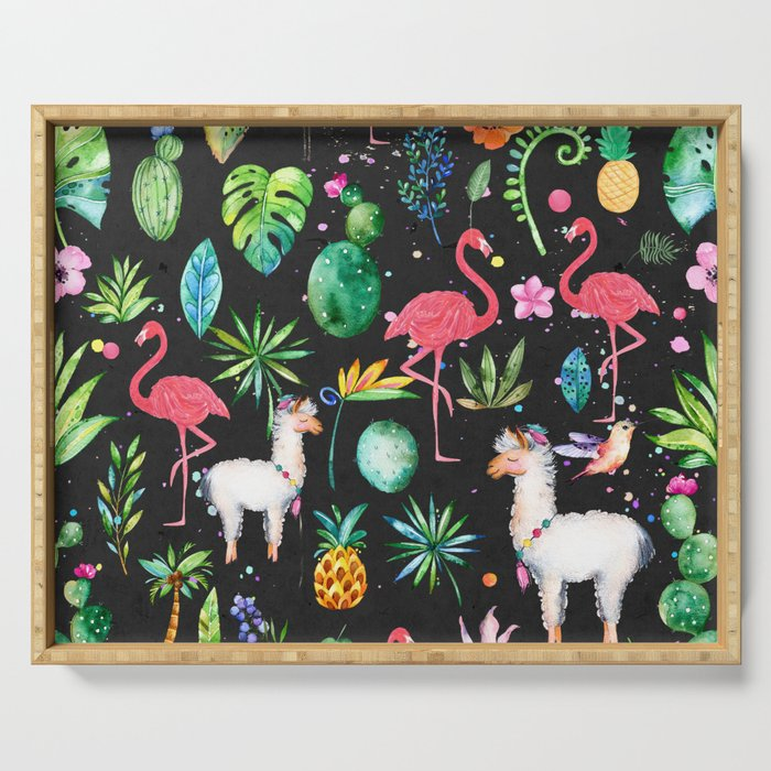 Colorful Tropical Flowers Animals And Leafs Serving Tray