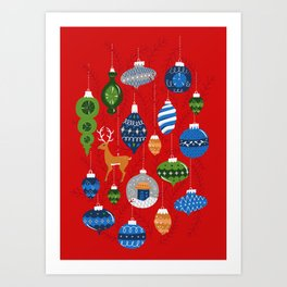 Holiday Ornaments in Red + Blue + Green Art Print