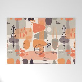 Mid Century Shapes Pattern Orange Welcome Mat
