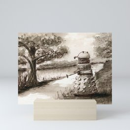 Lakeside Path in Sepia, with Dalek Mini Art Print