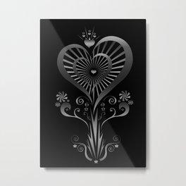 Heart Flower - Silver Metal Print