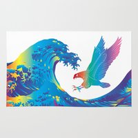 hokusai Area & Throw Rugs featuring Hokusai Rainbow & Eagle by FACTORIE