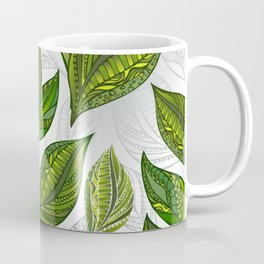 Seamless Pattern with Green Tea Leaves Coffee Mug