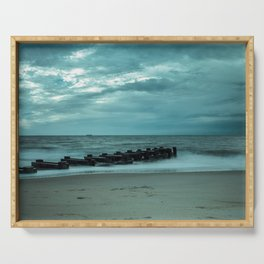 Coastal Landscape Photograph Blue Morning at Rehoboth - Beach Art Serving Tray