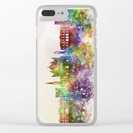 Exeter skyline in watercolor background Clear iPhone Case