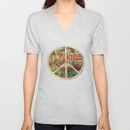 Peace Sign - Love - Graffiti Unisex V-Neck