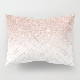 Modern faux rose gold glitter ombre modern chevron stitches pattern Pillow Sham
