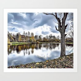Autumn Lake Airbrush Artwork Art Print