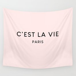 C'est La Vie Blush Pink French Fashion Quote Wall Tapestry