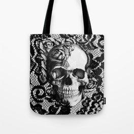 Rose skull on black lace base. Tote Bag