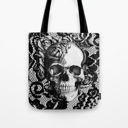 Rose skull on black lace base. Tote Bag