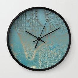 Golden Blue NYC + Brooklyn Wall Clock