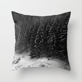 Snowy Pines Throw Pillow