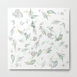 Hello, Autumn, flying leaves, botanical nature print Metal Print