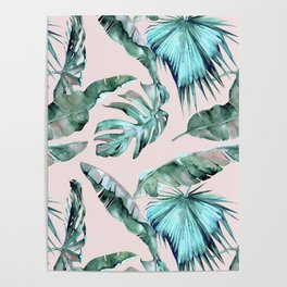 Tropical Palm Leaves Turquoise Green Coral Pink Poster