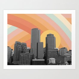 City Skyscraper Rainbow Sky Art Print