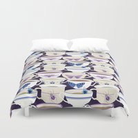 bugs Duvet Covers featuring Bugs & Teacups by Jessee Maloney - Art School Dropout
