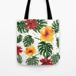 Tropical Leaves with Hibiscus and Red Flower Tote Bag
